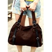 Oversized Buckle Casual Canvas Shoulder Bag Carryall Handbag