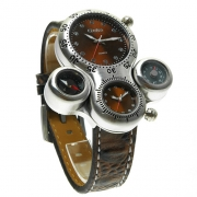 Fashion Leather Watchband Dual Time Zone Compass Thermometer Men Watch