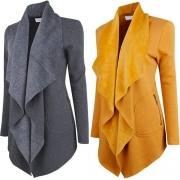 Fashion Cardigan mit langem Reverskragen und  2 seitlichen Eingrifftaschen