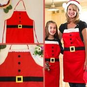 Praktische Weihnachtsschürze Küchenschürze - rot