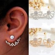 Paar stilvoller Lotusform Strass Ohrstecker Ohrringe