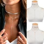 Fashion Anhänger Halsbandkette mit Strass und Pailletten