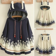 Cute Style Rabbit Printed Hooded Loose-fitting Shawl For Women