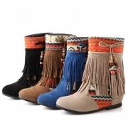 Retro Style Printed Round Toe Inner-increased Tassel Boots