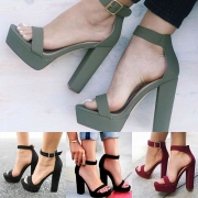 Fashion Solid Color Thick High-heeled Open Toe Sandals