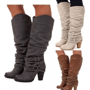 Retro Style Thick Heel Round Toe Rivets Boots