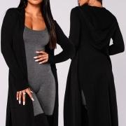 Fashion Solid Color Long Sleeve Slit Hem Hooded Cardigan