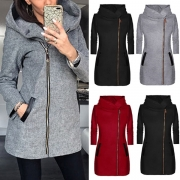 Fashion Solid Color Long Sleeve Hooded Side Zipper Coat