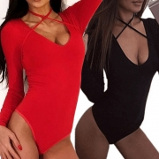Fashion Solid Color Long Sleeve Round Neck Crossover Halter Bodysuit