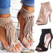High-Heel-Sandalette, mit modischem Fransenbesatz
