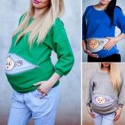Umstandssweatshirt mit Baby-Muster im Bauchbereich
