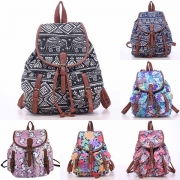 Casual Style Flap Top Buckle-Strap Drawstring Floral Print Canvas Backpack
