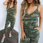 Sexy stilvolle Damen Jumpsuit mit Camouflageprint