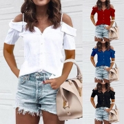 Sexy Off-shoulder Short Sleeve Solid Color Sling Blouse