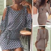 Sommerkleid Strandkleid im Retrolook mit grafischem Alloverprint