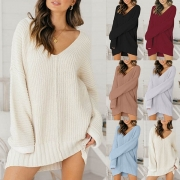 Fashion Solid Color Long Sleeve Loose Sweater