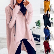 Chic Style Long Sleeve Irregular Hem Hooded Sweatshirt