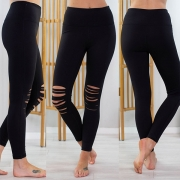 Fashion Solid Color High Waist Ripped Stretch Leggings