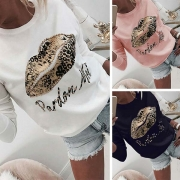 Fashion Leopard Red Printed Long Sleeve Round Neck Sweatshirt(It falls small)