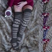 Gestrickte Kniestrümpfe Overknee-Socken mit raffiniertem Muster