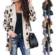 Fashion Leopard Printed Long Sleeve Loose Knit Cardigan