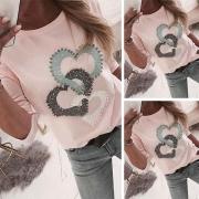 Sweatshirt Rundhals mit Herzmuster und Ziersteinen