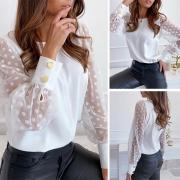 Stylische süße Langarmshirt mit Mesh-Einsatz und Punkt an Ärmeln