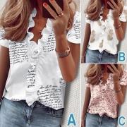 Bluse im Frische Stil mit Kurzen Ärmeln Rüschen V-Ausschnitt und Schickem Muster