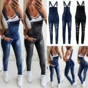 Moderne Jeans-Latzhose mit Hoher Taille Gerissenem Design und Schlanker Passform