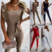 Sexy Rückenfreie Jumpsuit mit Quadratischem Kragen Hoher Taille Schlanker Passform und Trägern