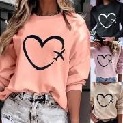 Modernes Sweatshirt mit langen Ärmeln Herzmotiv und Rundhalsausschnitt(Die Größe fällt klein)
