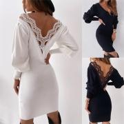 Sexy Kleid mit freiem Rücken mit Spitzendesign langen Ärmeln V-Ausschnitt und Schlanker Passform