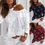 Sexy Sweatshirt mit einer Freien Schulter Langen Ärmeln und Herzmuster