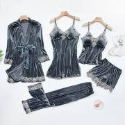 Sexy Nachtwäscheset mit Spitzendesign und Volltonfarbe 5 Kleidungsstücke / Set