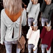 Sexy Pullover mit Gedrehtem Design am Rücken Langen Ärmeln und Volltonfarbe