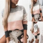 Moderner Pullover in Kontrastierenden Farben mit Langen Ärmeln Lockerer Passform und Rundhalsausschnitt