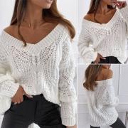 Modischer Pullover in Volltonfarbe mit Langen Ärmeln und V-Ausschnitt