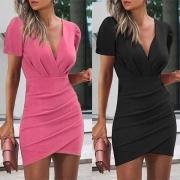 Sexy Kleid mit V-Ausschnitt Unregelmäßigem Saum Kurzen Ärmeln Volltonfarbe und Schlanker Passform