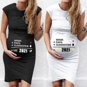 Modernes Ärmelloses mit Text bedrucktes Umstands-T-Shirt-Kleid mit Rundhalsausschnitt
