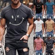 Lässiges Bedrucktes T-Shirt für Herren mit Kurzen Ärmeln Rundhalsausschnitt und Smiley