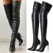 Sexy Hohe Stiefel mit Spitzen Absätzen und Reißverschluss an der Hinterseite