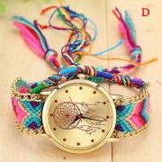 Dreamcatcher - Ethnische Style Quarzuhr Armbanduhr mit buntem geflochtenen Armbänder