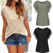 Casual Style T-Shirt mit Rundhalsausschnitt und Tassels an kurzen Ärmeln