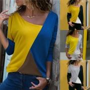 Stylische Langarmshirt Longsleeve in Colorblocking mit schrägem V-Ausschnitt