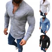 Stylische gerippte Herren Shirt Langarmshirt mit Stehkragen und Knopfleiste