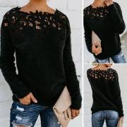 Stilvolle Pullover aus Webpelz, mit floraler Spitze an Ausschnitt und Rücken