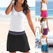 Sexy stilvolle dreifarbige Sommerkleid Strandkleid