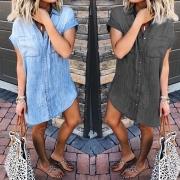 Shirtkleid Blusenkleid Jeanskleid mit zwei aufgesetzten Brusttaschen