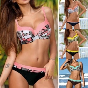 Sexy Push-up Bügel-Bikini mit Muster in Ethno Stil