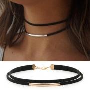 Choker Halskette Halsband in 2-Layer Look mit Kupferrohranhänger
